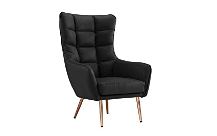 Modern Living Room Bonded Leather Tufted Armchair (Black)