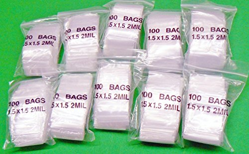 100 Clear Recloseable Bags Size 25mm x 25mm 2 Mil Thickness 1 x 1