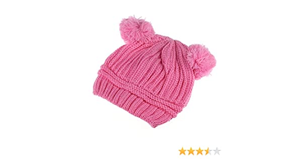 Gotd Baby Girls Boys Kids Knit Cap Winter Warm Hat Hemming Cap Stripe Gray