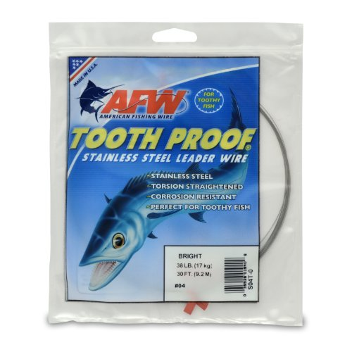 American Fishing Wire Tooth Proof Stainless Steel Single Strand Leader Wire, Size 4, Bright Color, 38 Pound Test, 30-Feet
