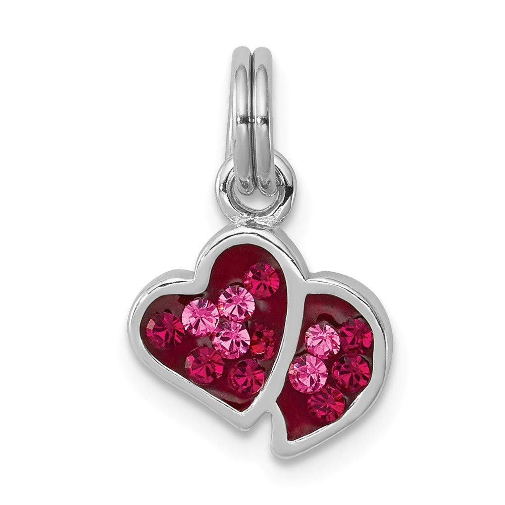 Jewelry Stores Network Pink and Red CZ Hearts Charm in 925 Sterling Silver 17x11mm