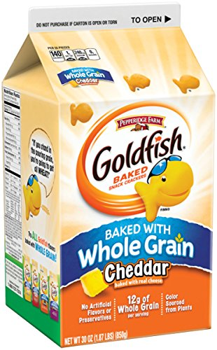 Pepperidge Farm, Goldfish, Crackers, Made with Whole Grain, Cheddar Cheese, 30 oz, Carton