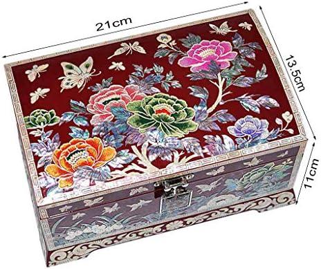 Organizadores de Joyas para Armario Caja de baratija de rectángulo Vintage Joyero Acabado Antiguo Adornado Grabado con Caja de Organizador de 2 Capas for: Amazon.es: Hogar