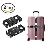 SWEET TANG Nylon Luggage Strap with Lock Travel Suitcase Belts (Rat Cheese Shadow Pattern)