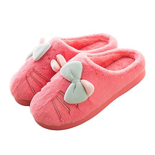 Pantofole Da Donna In Cotone Invernale Btrada - Gatto Dolce Con Le Soffici Ragazze Bowknot Fodera In Pelliccia E Pantofole Rosse Da Casa