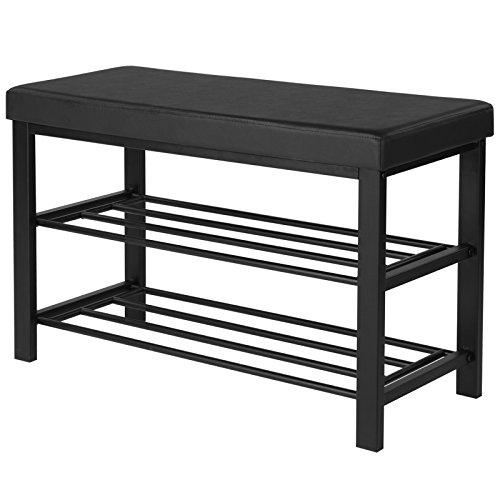 SONGMICS Shoe Bench, 3-Tier Shoe Rack for Entryway, Storage Organizer with Foam Padded Seat, Faux Leather, Metal Frame, for Living Room, Hallway, 31.9 x 12.6 x 19.3 Inches, Black ULBS58H ()