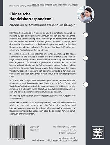 Chinesische Handelskorrespondenz 1 Arbeitsbuch Mit Schriftzeichen