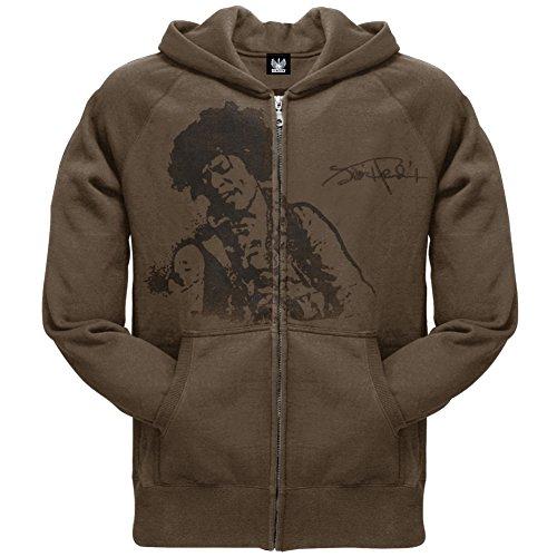 Jimi Hendrix - Mens Flocked Portrait Zip Hoodie X-Large Brown