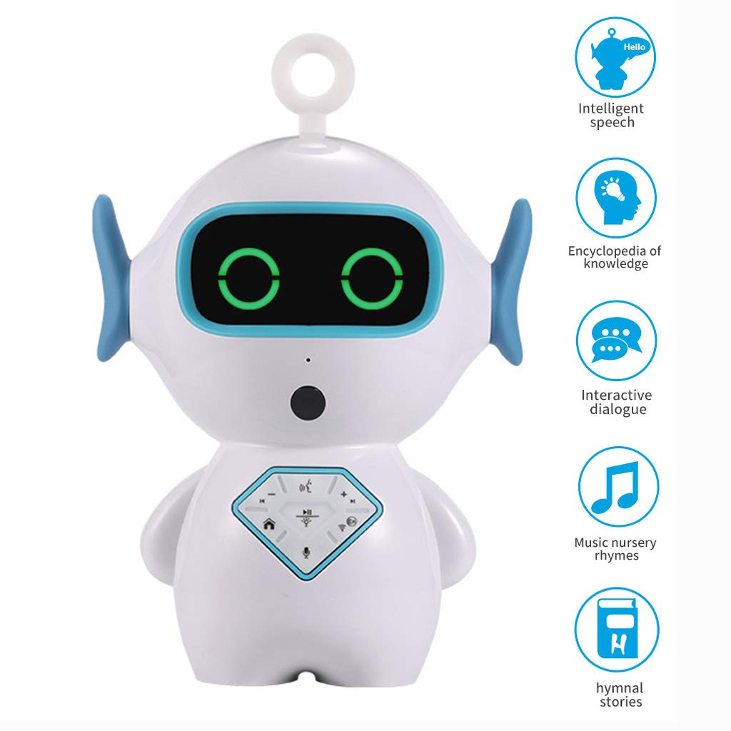 Byoung Smart Robot Toy Educational Toy Gift, Mini Robot Intelligent Toys for Kids Boys Girls Assistant Voice Control Robot Singing,Tell Story,Human Conversation, Alarm Clock Interactive Robot by Byoung
