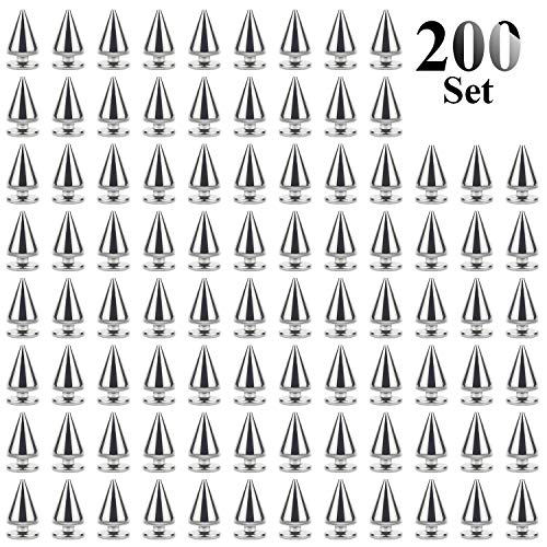Studs Spikes (Favordrory 7mmx10mm Silver Bullet Cone Spike and Stud Metal Screw Back for DIY Leather Crafts)