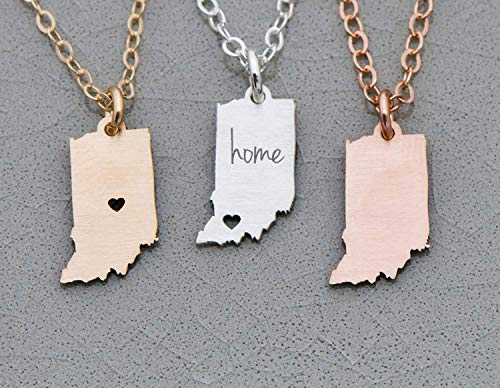 (Indiana State Necklace - IBD - Personalize Name Coordinates - Pendant Size Options - 935 Sterling Silver 14K Rose Gold Filled Charm)