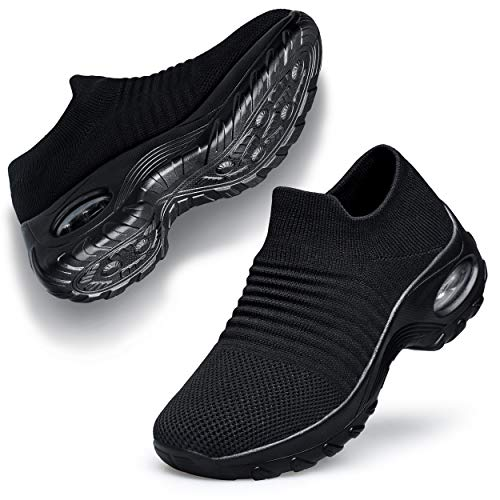 Belilent Womens Walking Shoes - Slip on Sneaker Socks Platform Nurse Mesh Breathable Air Cushion Socks Shoes Lightweight Comfortable Black 8.5