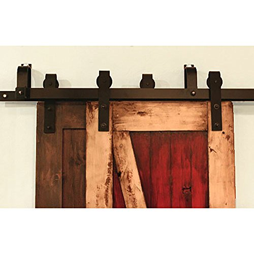 Hahaemall Modern New Style 5-16FT Bypass Sliding Barn Door Hardware Double Flat Track Steel Roller System (J Shape Hanger) (12FT Bypass Kit) by Hahaemall