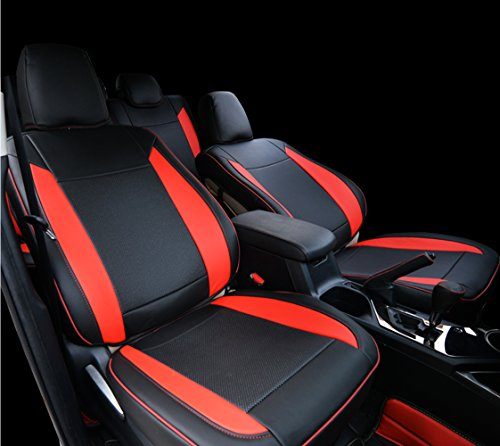 Kust rzd3192r Car seat Covers Custom Fit Seat Covers Fit for Toyota RAV4 2013 2014 2015 2016 2017 2018,Leather Auto Seat Covers for SUV Full Set 4pcs Saddle Cover,4pcs Back Cover,5pcs Headrest Cover ()