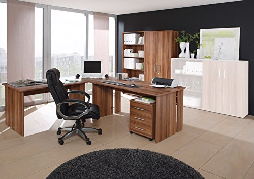 Großes Bürozimmer Set Omega - 6-teilig - Walnuss-Dekor