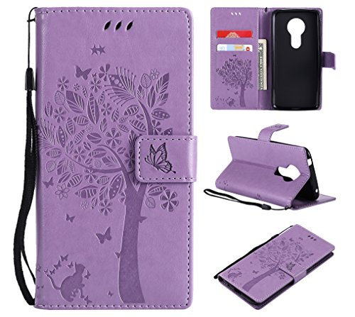 Moto G6 Play Case, Moto G6 Forge Case, Lacass Cat Tree Pattern PU Leather Flip Wallet Case Cover Kickstand with Card Slots and Wrist Strap for Motorola Moto G Play 6th Gen (XT1922) 5.7 - Light Purple