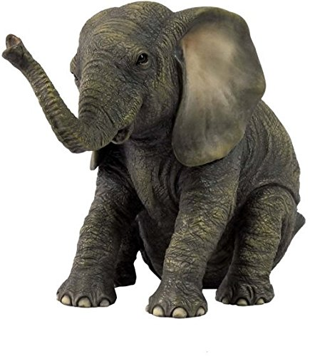 US 6.13 Inch Sitting Baby Elephant Decorative Figurine, Bronze Color