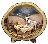 Avalon Gallery Woodcut Figurine, Baby Jesus with Lambs