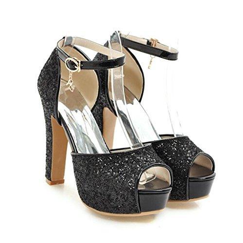 Hauts Été De Chaussures De De Bouche Noir Chaussures Sandales Talons Talons Femme À Poisson Épais Paillettes Tiges UpwPdSqx4