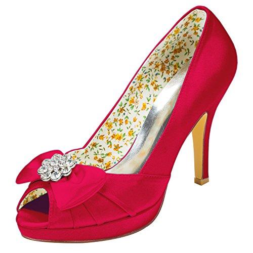 Plataforma Aguja de Tacón de Para Emily con Bridal Rojo de Satén Cristal Mujer FqUWB