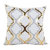 Woaills Gold Foil Throw Pillow Case, Sofa Waist Cushion Cover for Home Party Decor 18X18 (C)