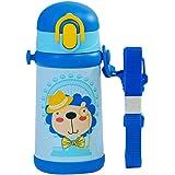 THERMOS 膳魔师 小狮子 不锈钢 保温/保冷 吸管杯 附赠背带 蓝色400ml(TCKB-400S BL)