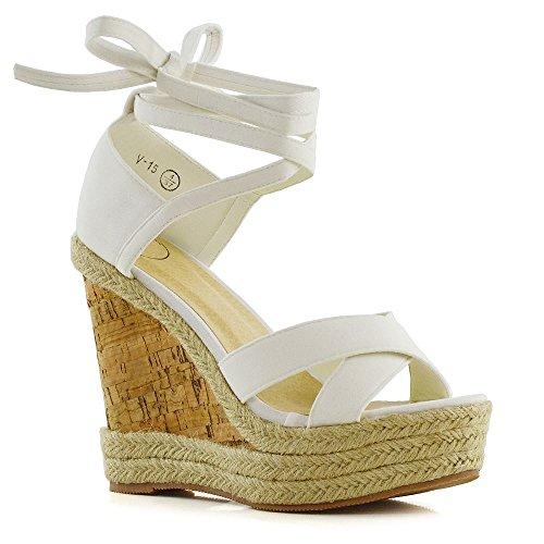 e Up Sandals Ladies White Faux Suede Platform Wedge Summer Espadrilles Shoes 6 B(M) US ()