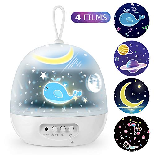 Star Night Lights - 4 Set Films 360 Degree Rotating Star Projector, Bedside Lamp with USB Cable, 4 LED Bulbs, Best for Children Baby Bedroom, Party Decorations