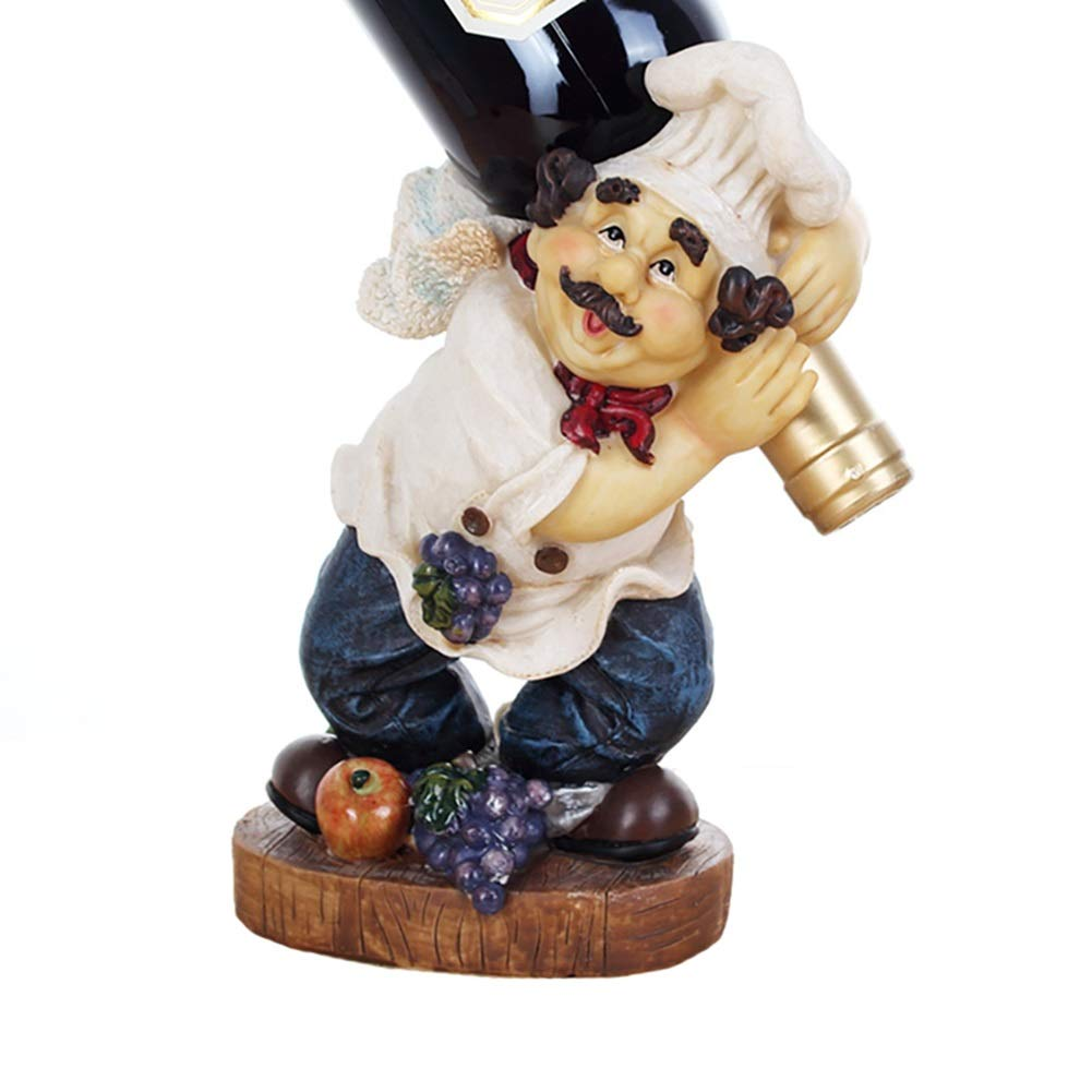 Wood Wine Rank Chef Figurines Kitchen Able Top Art Statue Bistro Cooking
