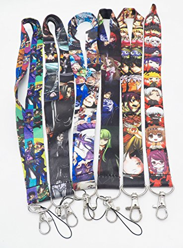 6 Assorted Anime Characters Phone Key Chain Strap LANYARD Set #84