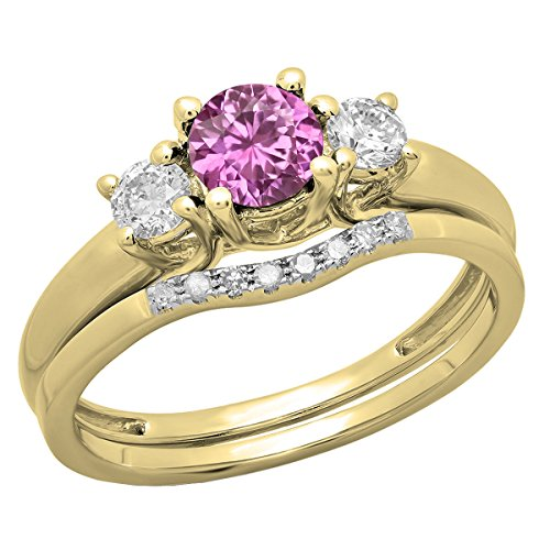 - Dazzlingrock Collection 14K 5 MM Round Pink Sapphire & Diamond Bridal 3 Stone Engagement Ring Set, Yellow Gold, Size 7.5