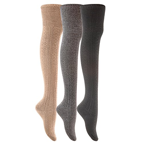 Skirts High Knee Boots (Lovely Annie Women's 3 Pairs Fashion Thigh High Cotton Socks J1025 Size 6-9(Black,Dark Grey,Beige))