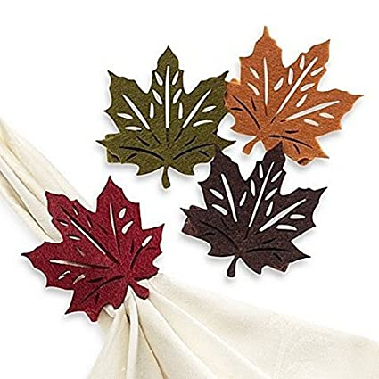 amazon com fall leaf napkin rings set of 4 home kitchen