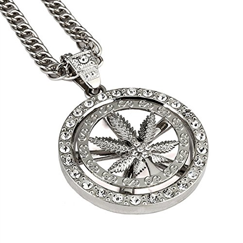 [NYUK Superior Quality Mens Thick Chain Rotatable Classic Leaf Zinc Alloy Round Pendant] (Best Hollywood Costumes Designers)