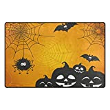 Cooper girl Halloween Spider Web Decorative Area Rug Pad Floor Mat for Living Dining Room Bedroom 60x39&31x20 Inch