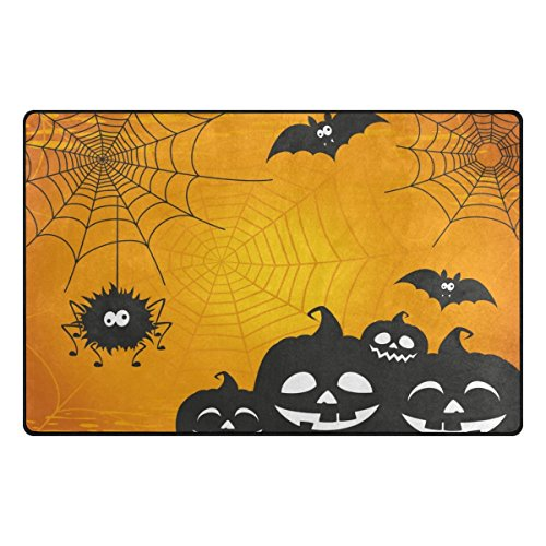 Cooper girl Halloween Spider Web Decorative Area Rug Pad Floor Mat for Living Dining Room Bedroom 60x39&31x20 Inch by Cooper girl