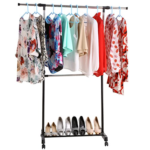 Portable Adjustable Extendable Rail Hanging Clothes Rack Met