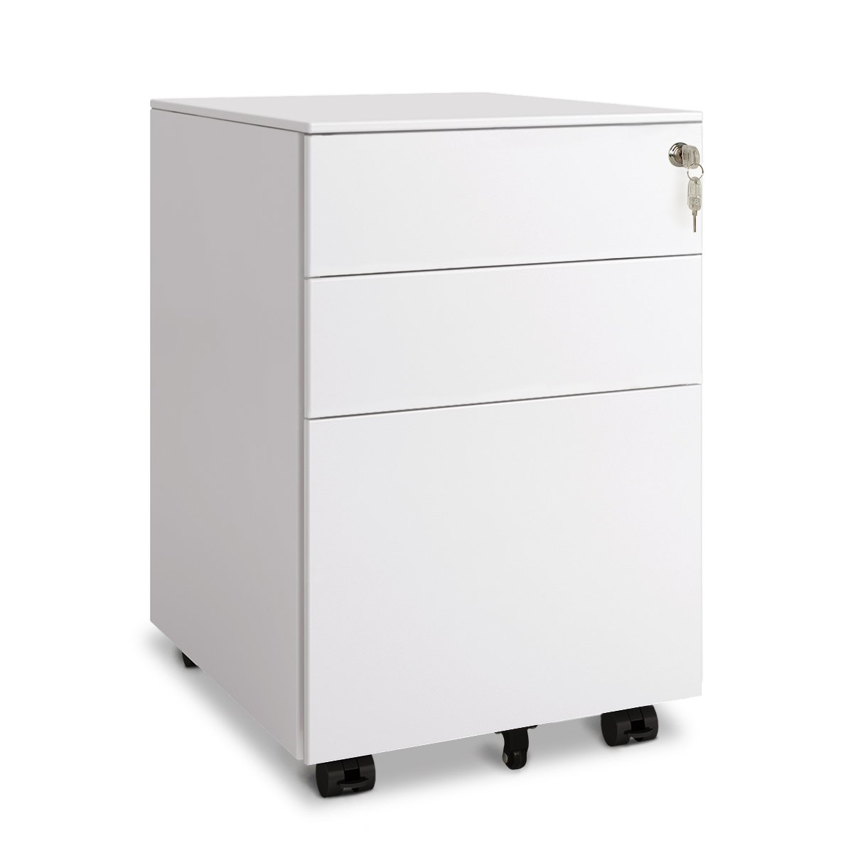 DEVAISE 3 Drawer Metal File Cabinet with Lock (Open from Side - White)