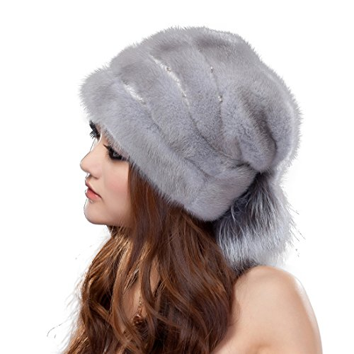 URSFUR Mink Fur Women's Beanies Hat With Tail Sapphire by URSFUR