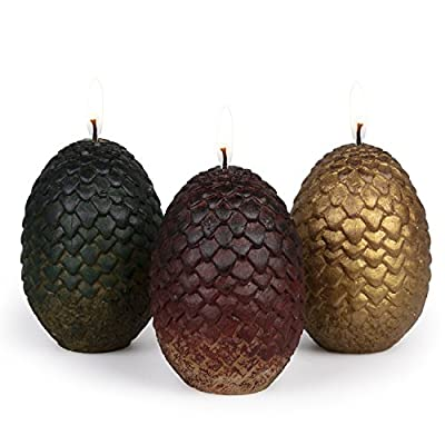"""Game of Thrones Sculpted Dragon Egg Candles, Set of 3 - Perfect for GoT Fans - 2 1/2"""" each"""