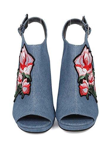 CAPE ROBBIN Women Denim Peep Toe Embroidered Block Heel Mule HJ85 - Denim (Size: 10) by CAPE ROBBIN (Image #3)