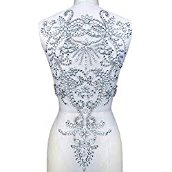 Silver Hand Beaded Sew on Rhinestones Bridal Applique Patches