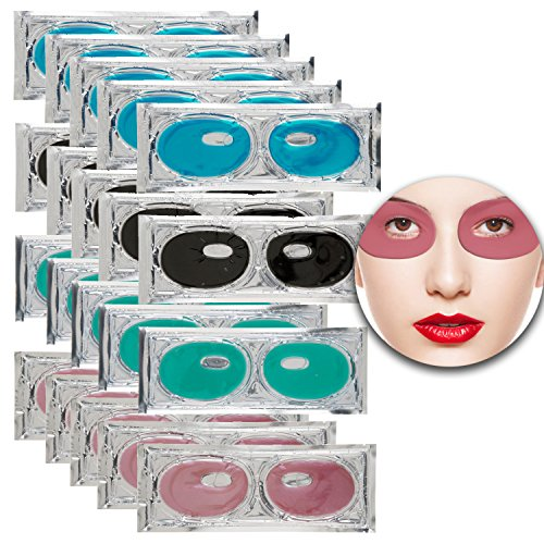 Set Kit of 20 Pairs Collagen Eyes Masks Eyelids Patches with Green Aloe Vera, Red Wine, Black Mud Volcanic Soil and Blue Marine Algae Seaweed for Moisture, Wrinkles Removal, Firming and Nourishing