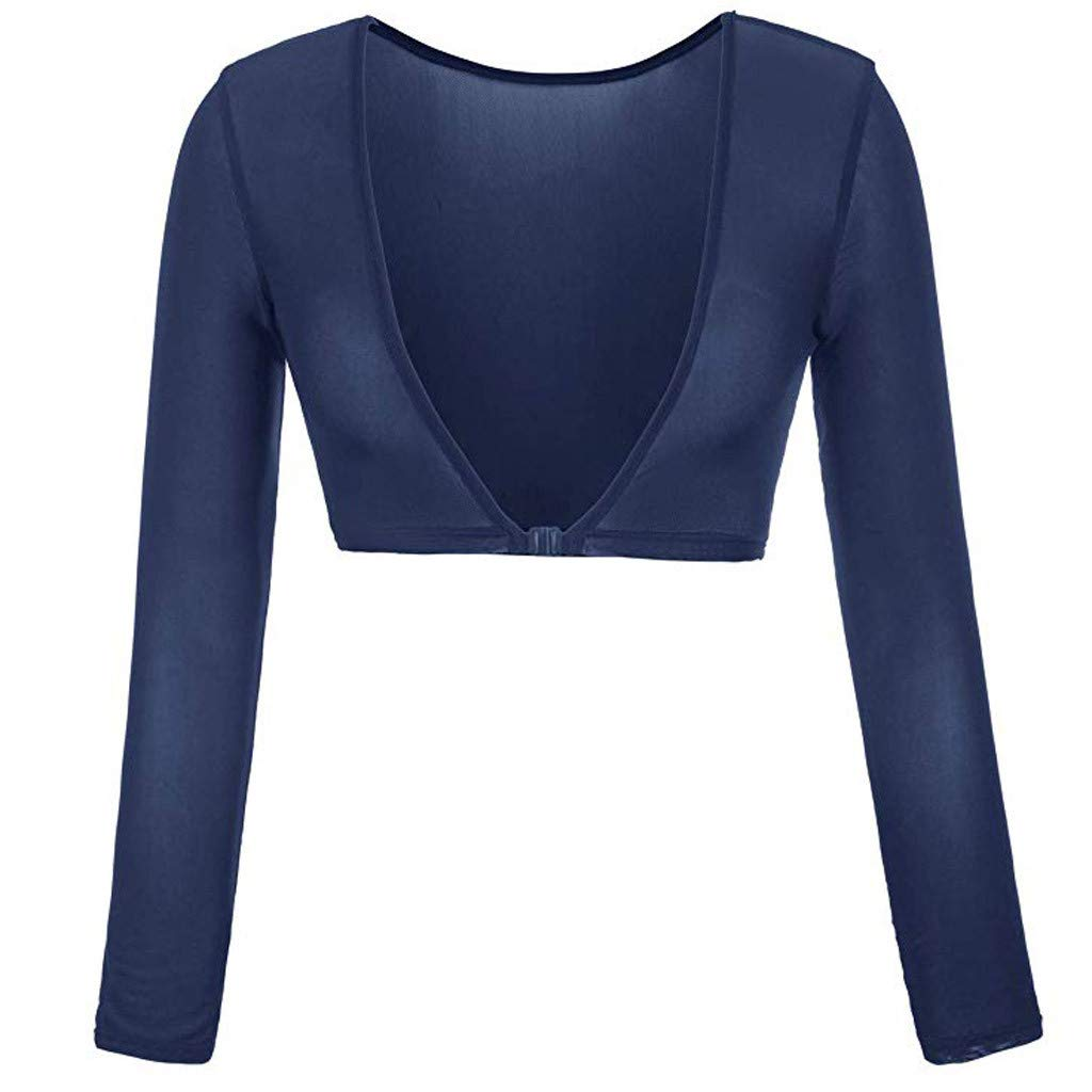 Women Blouse Both Side Wear Sheer Plus Size Seamless Arm Shaper Top Mesh Solid Color Shirt Blouses