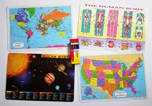 Kids Educational Placemats - Childrens Washable Coloring Set with Markers - 4 Learning Mats Bundle - Reversible USA, World, Human Body, Solar System Maps - Entertaining and Fun Time with Your Kids