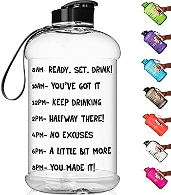 HydroMATE Half Gallon Reusable Leak-Proof Motivational Sports Water Bottle Plastic Jug for Fitness Camping Outdoors Time Marked to Drink More Daily BPA Free 64oz