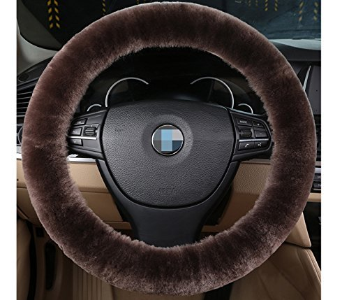 Plush Fluffy Steering Wheel Sets Soft East Warm Plush Vehicle Car Steering Wheel Covers (Teak color) (Wheel Colour Harmonious)