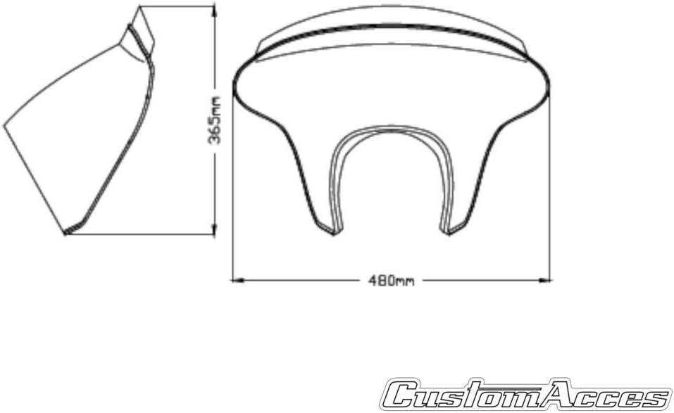 Customaccess AZ3179N Batwing SML Kurzer Bildschirm Customacces Transparent Farbe f/ür Kawasaki Vulcan S 15-20