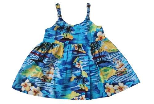 Dress Spaghetti Girl Hawaiian (KY INTERNATIONAL Girl's Sunset Waikiki Spaghetti Hawaiian Dress (4, Navy Blue))