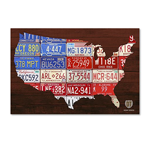 USA Flag Map by Design Turnpike, 30x47-Inch Canvas Wall Art
